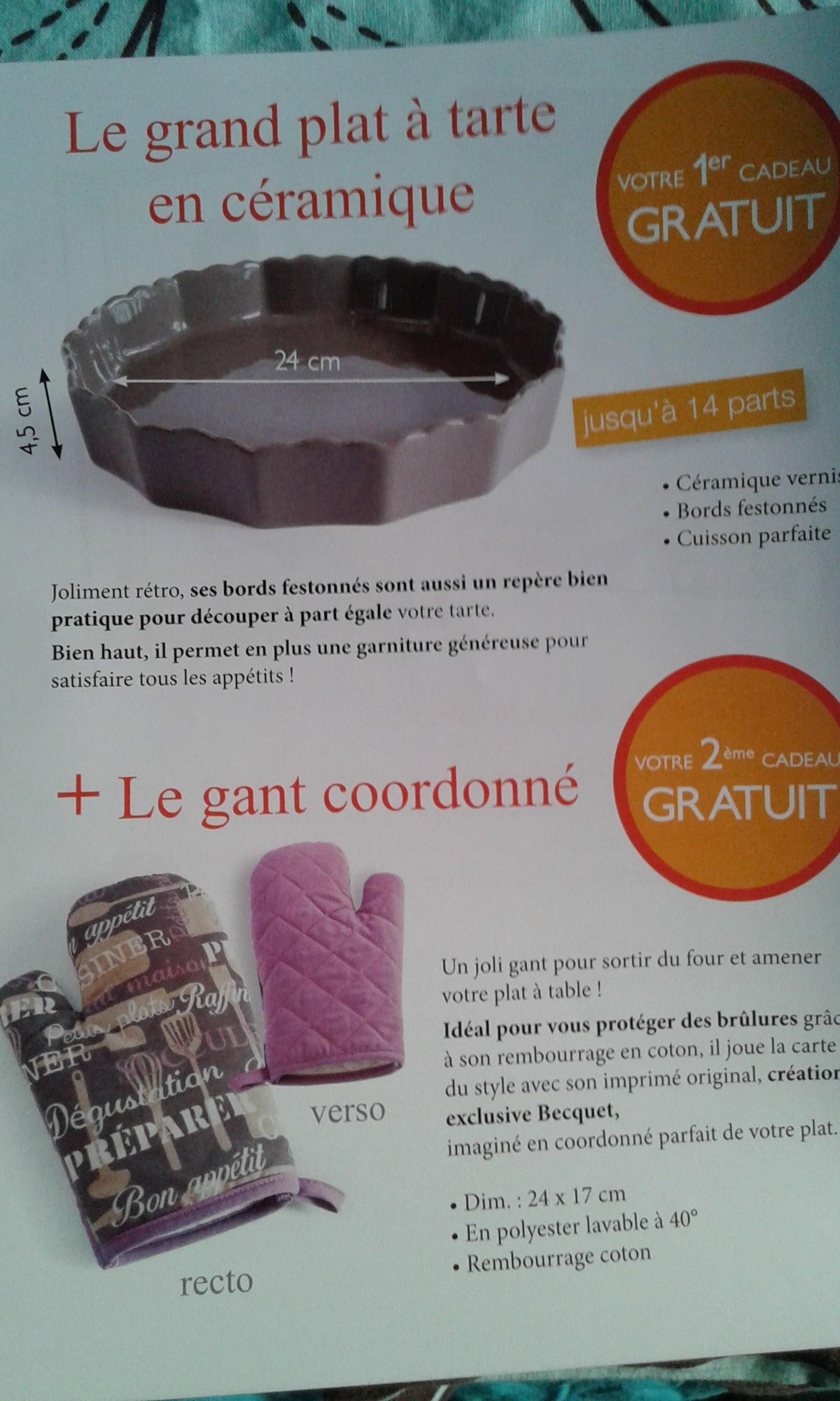 Becquet le plat tarte et son gant frais de port offert - Code promo cdiscount frais de port offert ...