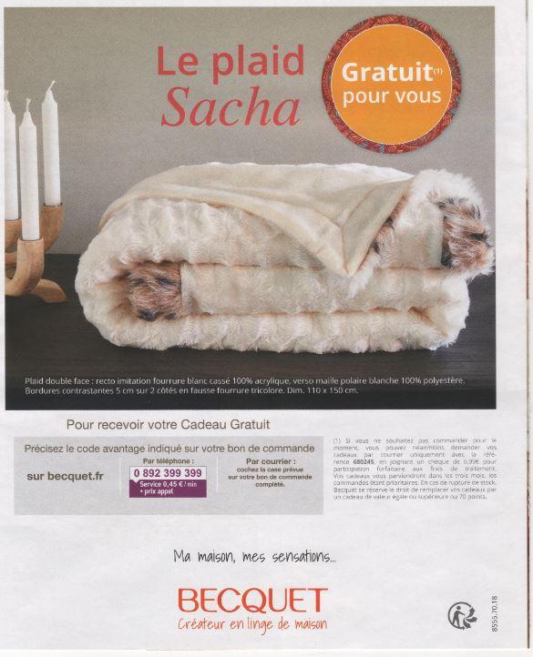 code promo kdo plaid sacha et 35 sur cde sur becquet. Black Bedroom Furniture Sets. Home Design Ideas