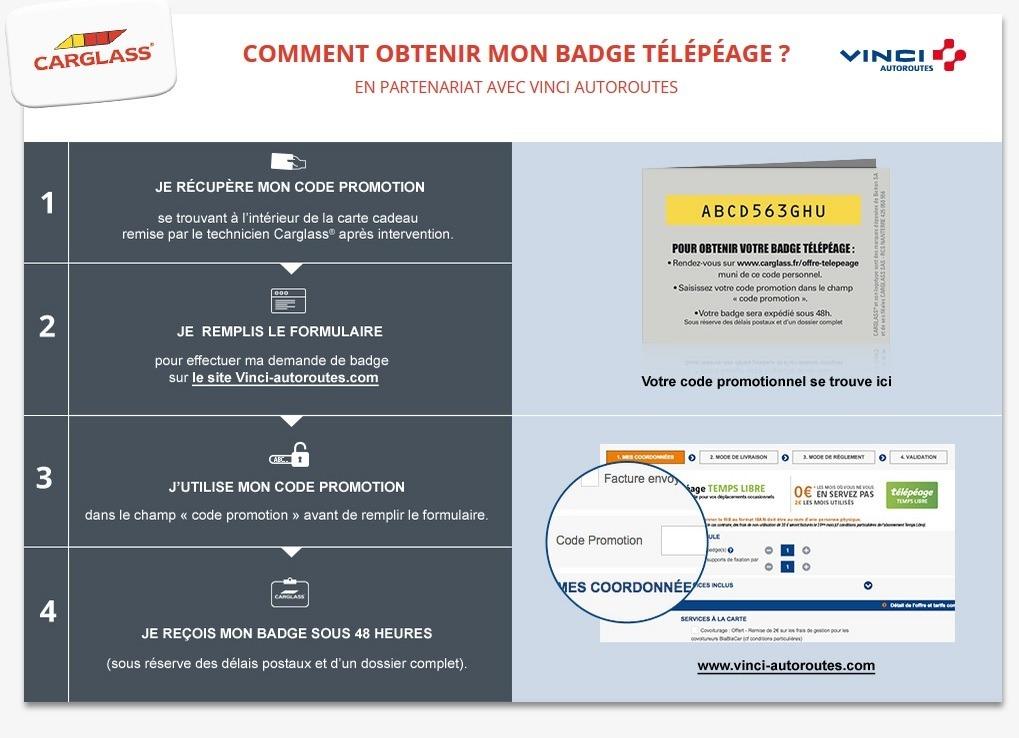 Code promo Carglass : 2 ans d'abonnement au badge télépéage