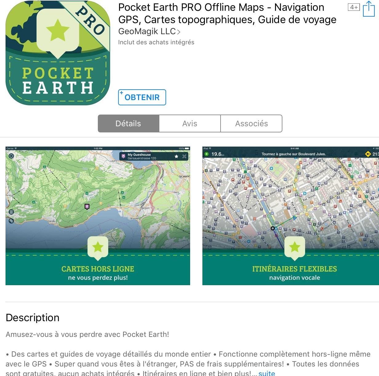 gratuit au lieu de 4 99 app ios pocket earth pro offline maps navigation gps cartes topographique. Black Bedroom Furniture Sets. Home Design Ideas