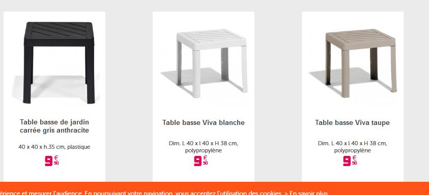 Deal Table Basse De Salon De Jardin à 991 Chez Gifi