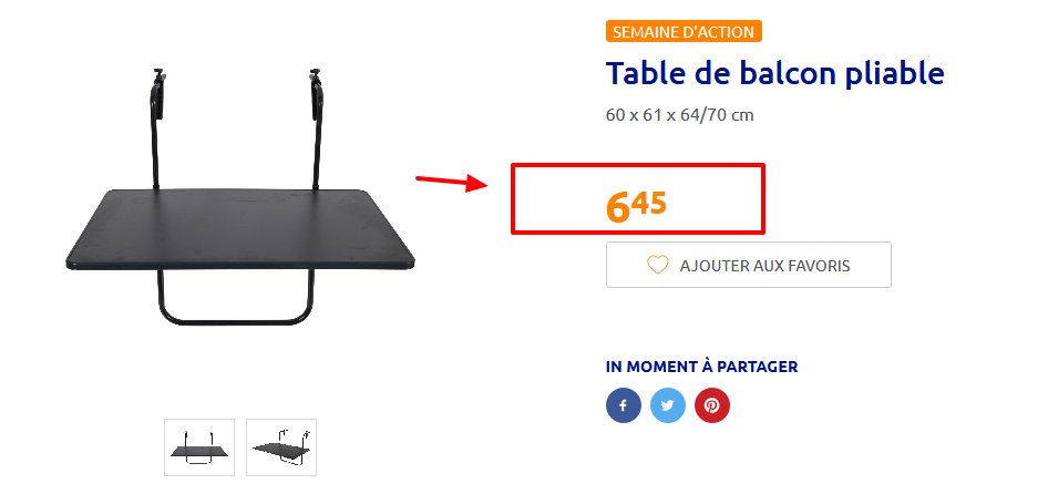 Deal À Table 6 45€ Action En Magasin Balcon Pliable De 8nXPkwO0