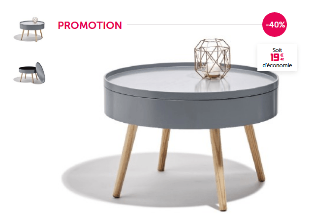 Deal Table Basse Scandinave Ronde Grise Charlotte A 29 90 Au