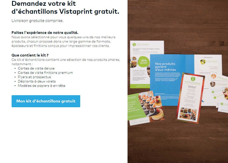 Testez La Qualit Vistaprint Kit D Chantillons Gratuit