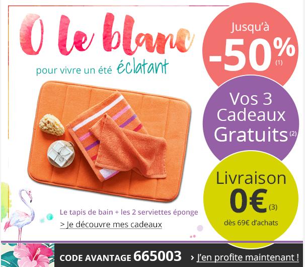 code promo becquet tapis de bain orange et 2 serviettes en cadeau o le blanc jusqu 39 50. Black Bedroom Furniture Sets. Home Design Ideas