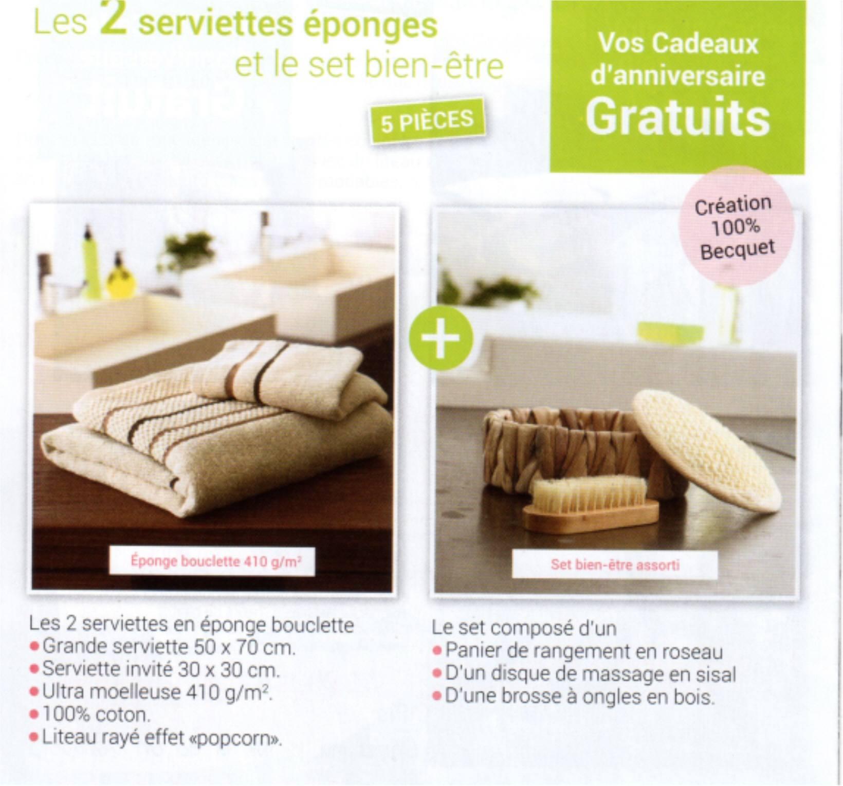 becquet cadeaux les 2 serviettes ponges et le set bien etre 20 60 fpp. Black Bedroom Furniture Sets. Home Design Ideas